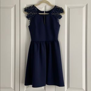 Cute navy dress with lace detail